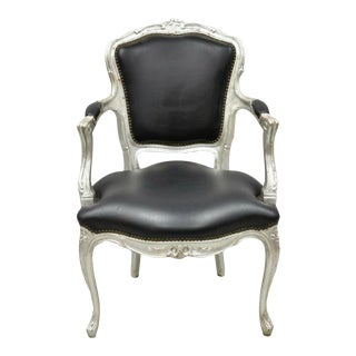 Vintage French Louis XV Victorian Style Silver Painted Accent Side Arm Chair For Sale