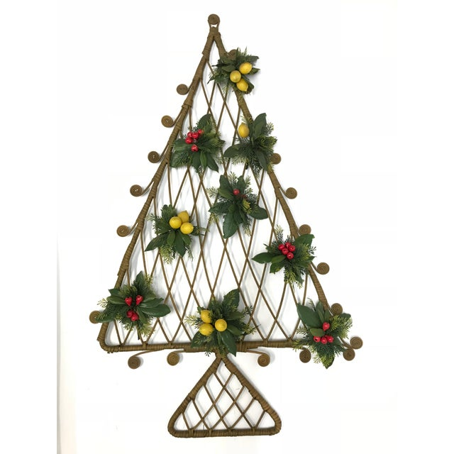 Brown Mid-Century Boho Wicker Rattan Christmas Tree Wall Hanging For Sale - Image 8 of 8