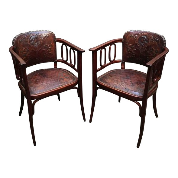 Pair of Josef Hoffman Bent Beechwood and Hand Tooled Leather Armchairs - Image 1 of 10