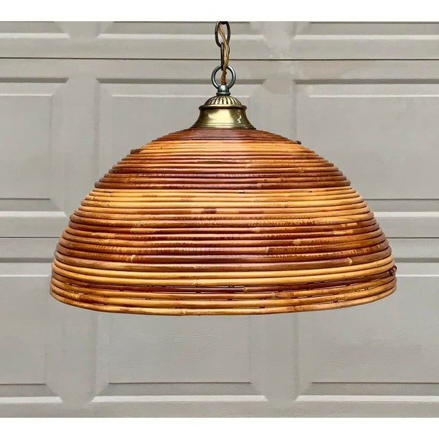 Vintage Bamboo Indoor/Outdoor Ceiling Light For Sale - Image 4 of 12