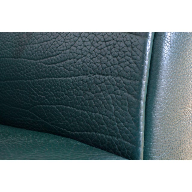 Mid-Century Modern De Sede DS 47 Sofa in Petrol Green Leather For Sale - Image 3 of 12