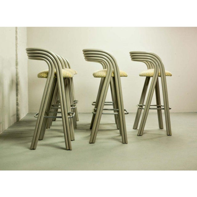 Rohe Noordwolde Set of Six Mid-Century Dutch Design Luxurious Bamboo Barstools by Axel Enthoven for Rohé Holland, 1980's For Sale - Image 4 of 13