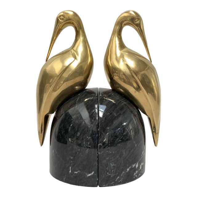 Art Deco Brass and Marble Egret or Crane Bookends – a Pair For Sale