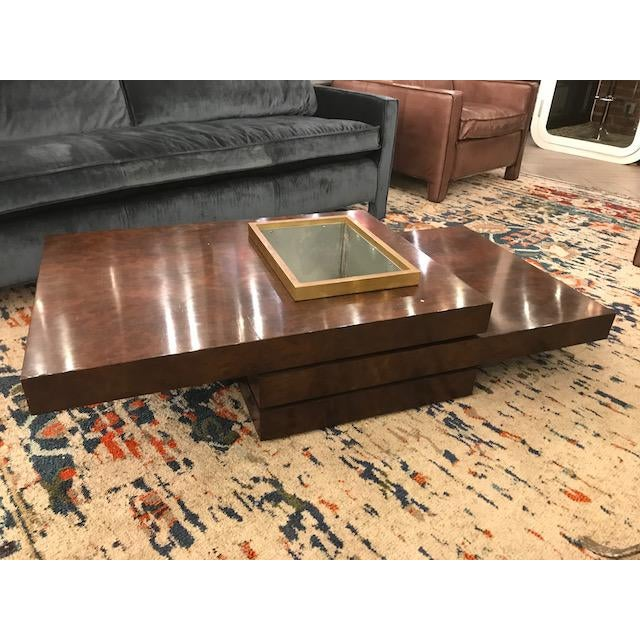 Brown Three Tiered Burlwood Coffee Table For Sale - Image 8 of 8