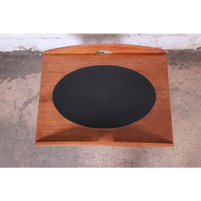 Paul McCobb for Lane Signature Collection Walnut and Leather Occasional Side Table For Sale In South Bend - Image 6 of 11