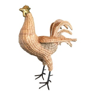 Mario Lopez Torres Vintage Mid-Century Rattan Reed Wicker Chicken Sculpture For Sale