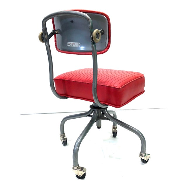 Industrial Tanker Steelcase Machine Age Industrial Little Red Desk Chair For Sale - Image 3 of 9