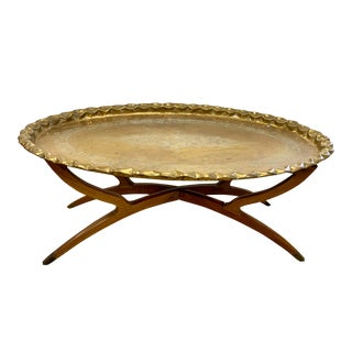 Mid Century Brass Tray Top Table on Folding Stand For Sale