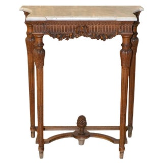 19th Century Louis XVI Limewood Console With Carrara Marble Top For Sale