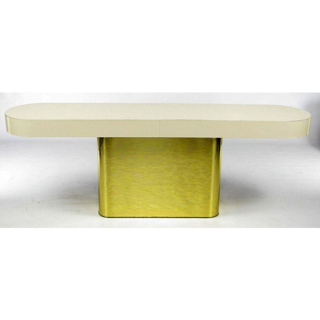 Milo Baughman Brass Base Console Table With Matching Benches - Image 2 of 10
