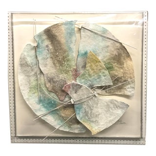 Watercolor Collage Construction in Lucite Shadowbox For Sale