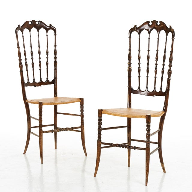 Wood Pair of Midcenty Chairs by Colombo Sanguineti for Chiavari 1950s For Sale - Image 7 of 7