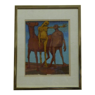 """Original Framed Painting """"Nudes on a Horse"""" For Sale"""