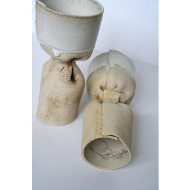 Organic Pottery Candle Holders - Image 3 of 5