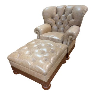 Ralph Lauren Tufted Leather and Mahogany Writer's Club Chair and Ottoman For Sale