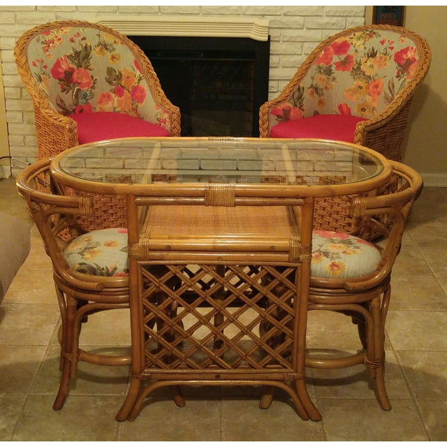 Chairs Tables: Vintage Bamboo Game Table & Chairs Set