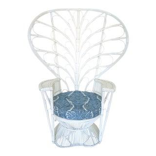Vintage White Cane Peacock Chair & Cushion