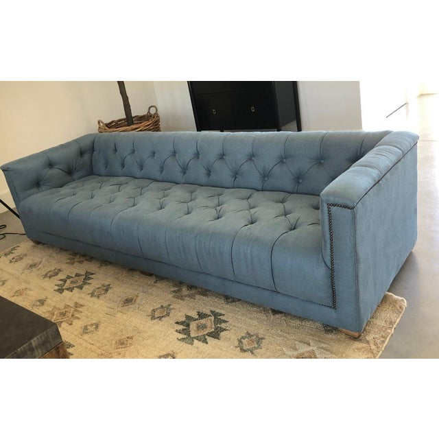 Wood Modern Restoration Hardware English Art Deco Sofa For Sale - Image 7 of 8