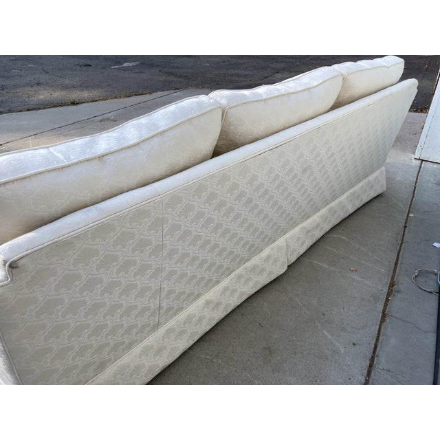 Milo Baughman Mid-Century White Tuxedo Skirted Sofa For Sale - Image 4 of 13