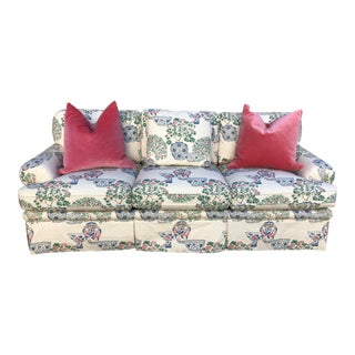 Chinoiserie Print Upholstered Sofa by Ej Victor For Sale