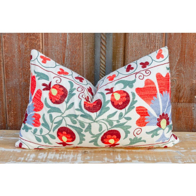 White Iris Coral Floral Suzani Pillow For Sale - Image 8 of 9