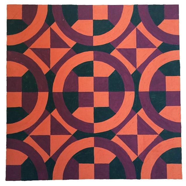 Mid-Century Geometric Pattern Painting - Image 2 of 4