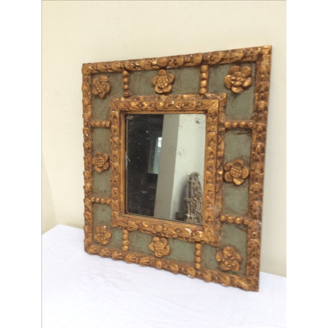 Antique Peruvian Carved Green & Gold Mirror For Sale - Image 7 of 7