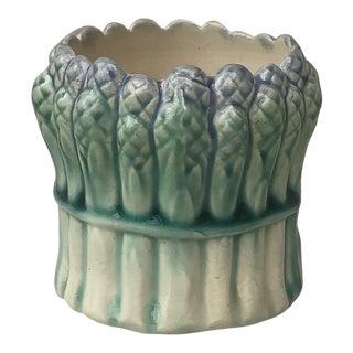 French Majolica Asparagus Vase, 1900 For Sale