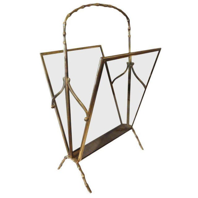 Brass 1940's Italian Brass and Smoked Glass Magazine Rack For Sale - Image 8 of 9