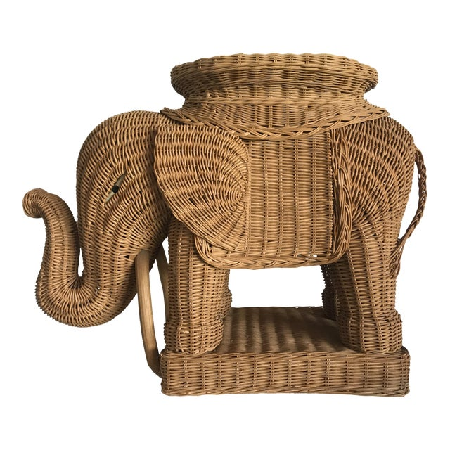 1980s Boho Chic Woven Rattan Elephant Side Table For Sale