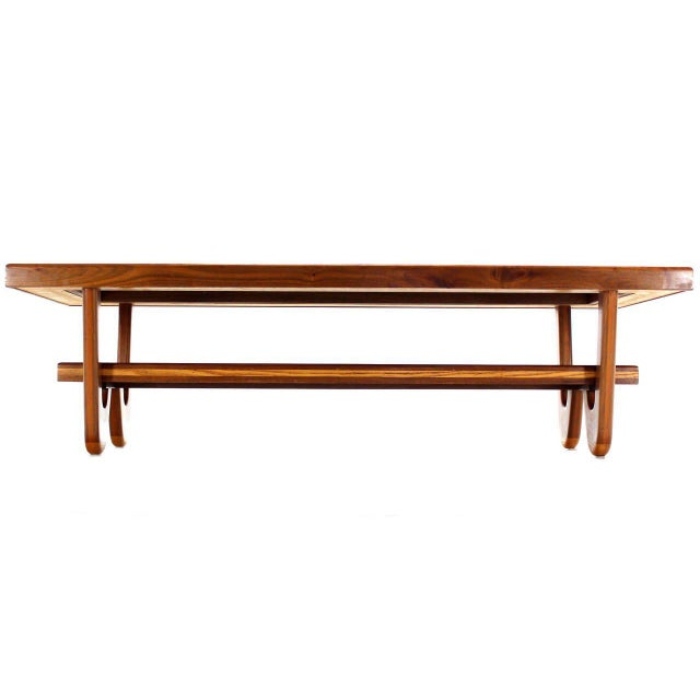 Brown Walnut Smoked Glass Top Marquetry Design Long Coffee Table For Sale - Image 8 of 9