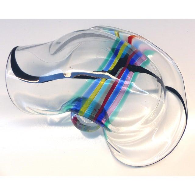 Glass 1970s Seguso Murano Centerpiece Bowl Signed Seguso a.v. For Oggetti, Italy For Sale - Image 7 of 9