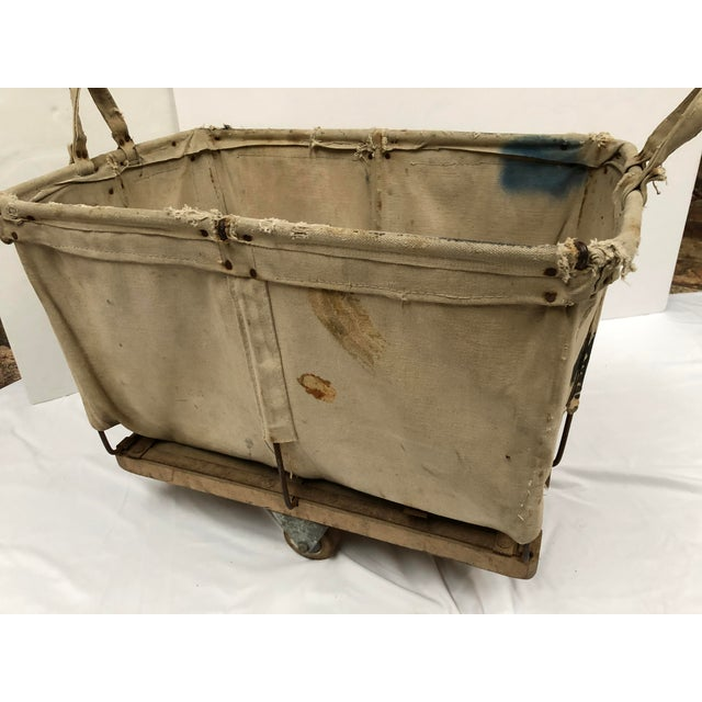 Vintage Industrial Canvas Laundry/Postal Cart For Sale - Image 4 of 11