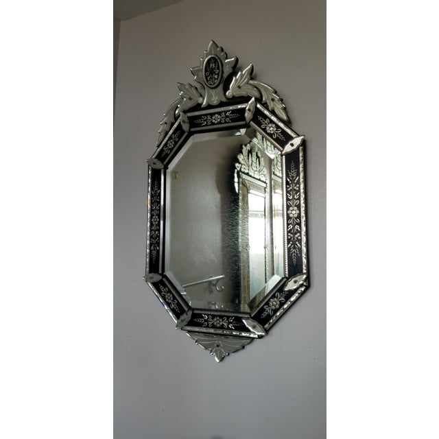 Vintage Mid-Century Venetian Style Black Banded Mirror For Sale - Image 12 of 12