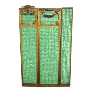 Antique French Triple Panel Screen with Green Silk