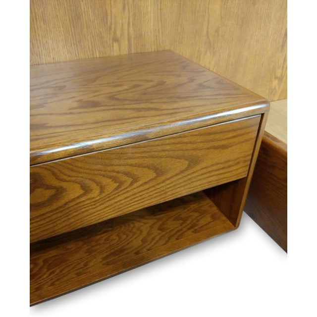 Wood Hand Crafted Mid-Century Danish Inspired Floating Platform Bed & Nightstands - King For Sale - Image 7 of 13