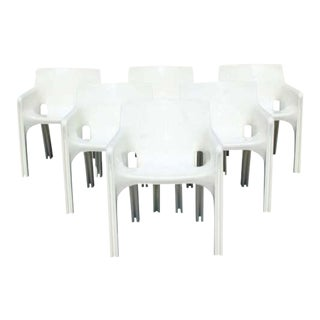 Mid Century Modern Vico Magistretti Artemide Gaudi Armchairs 1970s Italy - Set of 6 For Sale