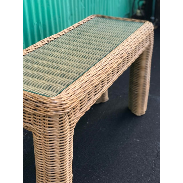 Brown VintageBraid Wicker Console Table For Sale - Image 8 of 11