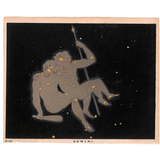 Astronomy, Constellations, Gemini, Antique Matted Chromolithograph, 1845 For Sale