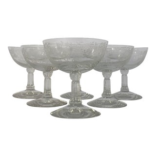Vintage Fostoria Bouquet Pattern Crystal Low Sherbet or Champagne Coupes - Set of 6 For Sale