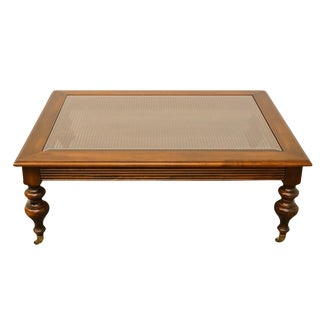 20th Century Traditional Ethan Allen Old World Treasures Collection Glass Top Coffee Table For Sale