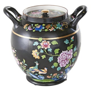 1820s Spode Black Floral Potpourri Jar For Sale