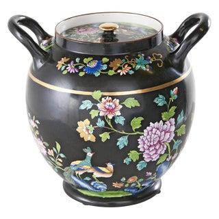 1820s Spode Black Floral Potpourri Jar