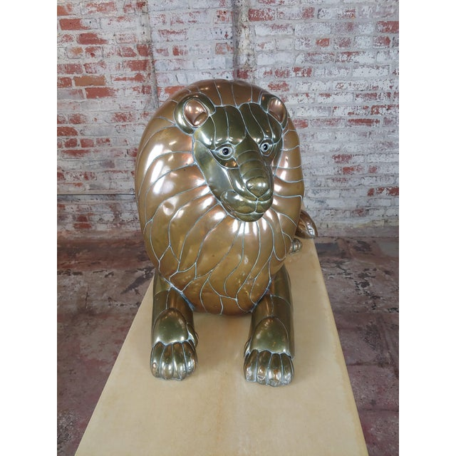 Hollywood Regency Sergio Bustamante Resting Lion Brass & Copper Sculpture For Sale - Image 3 of 11