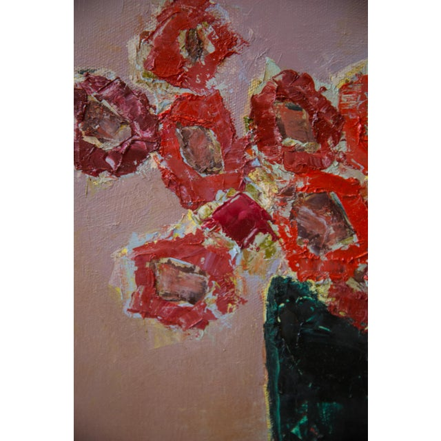 """Abstract Bill Tansey """"Red"""" Abstarct Floral Oil Painting on Canvas For Sale - Image 3 of 5"""