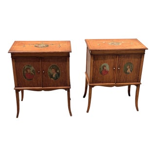 19th Century Edwardian Hand Painted Side Tables - a Pair For Sale