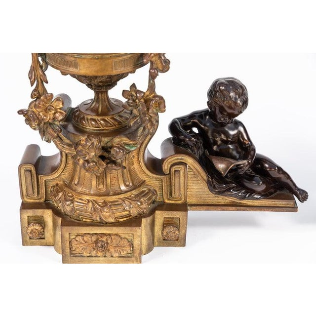 19th Century French Bronze Chenets - a Pair For Sale - Image 11 of 12