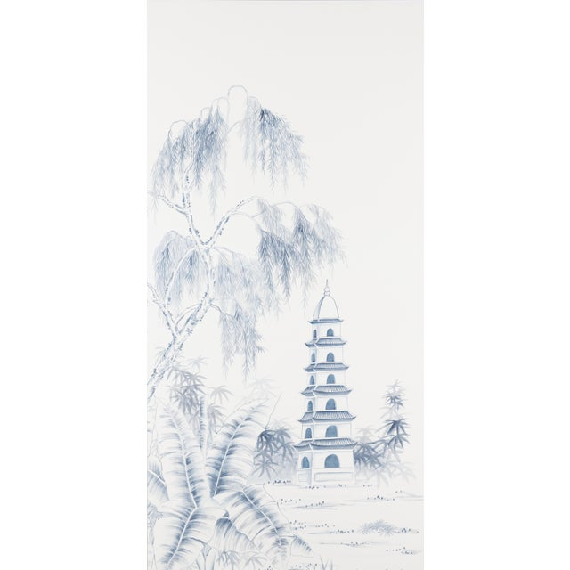 Chinoiserie Jardins en Fleur Blue & White Pagoda Garden Triptych Paintings on Silk - Set of 3 For Sale - Image 3 of 5