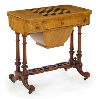 Early Victorian Figured Walnut Antique Games and Work Table, Circa 1860-80 Preview