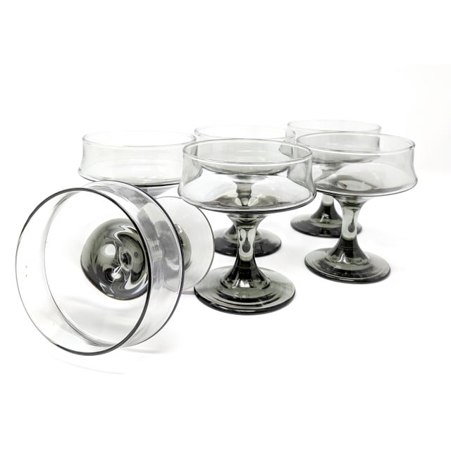 Mid-Century Modern Mid-Century Modern Smoke-Colored Cocktail Glasses - Set of 6 For Sale - Image 3 of 7
